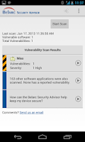 Screenshot of Belarc Security Advisor