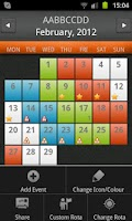 Screenshot of Shift Rota Calendar