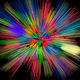 Fireworks by Sudipto Bhaumik - Digital Art Abstract