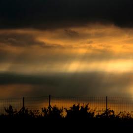 lonely cross by Nerijus Liulys - Landscapes Prairies, Meadows & Fields ( cloud formations, landscape, light, sun rays, cross )