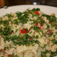 Risotto With Artichoke Hearts, Prosciutto, and Red Bell Pepper