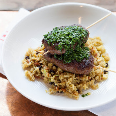 "Merguez-Style Brochettes with Cauliflower ""Couscous"" & Salsa Verde"
