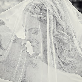 Lovers by Alan Evans - People Couples ( love, kiss, wedding photography, melbourne wedding photographer, wedding day, wedding, wedding veil, aj photography, bride and groom, gippsland wedding photographer )