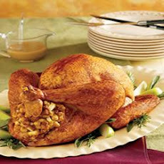Roasted Dijon and Apple-Glazed Turkey with Fruited Stuffing
