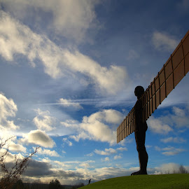 The Angel of the North by Gareth Dickin - Buildings & Architecture Statues & Monuments ( clouds, angel, statue, sky, wings,  )