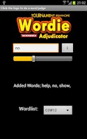 Screenshot of Wordie Scrabble Adjudicator TE