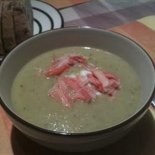 Asparagus and Yukon Gold Potato Soup with Crab and Chive Sour Cream