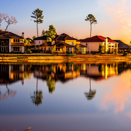 Woodlands Neighborhoods by Joseph Law - City,  Street & Park  Neighborhoods ( houses, texas, morning glory, neighborhood, trees, reflections, woolands, pond )