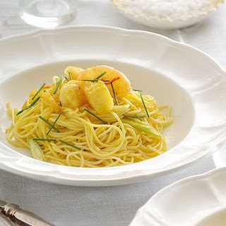 Saffron Pasta With Garlic Prawns And Preserved Lemon