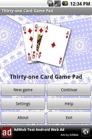 Thirty-one Card Game Pad