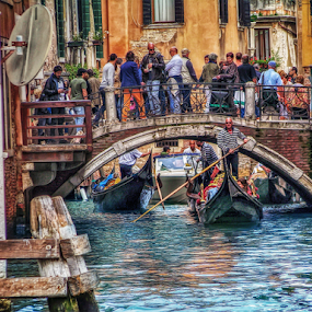 Venetian traffic by Andrea Conti - City,  Street & Park  Street Scenes ( water, waterscape, street, boats, cityscape, architecture, landscape, people, canal, city, venezia, gondola, traffic, italia, buildings, venice, gondolas, bridge, italy )