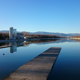Rowing channel  by Daniel Chobanov - Instagram & Mobile Android ( water, plovdiv, blue sky, rowing channel, morning, bulgaria )