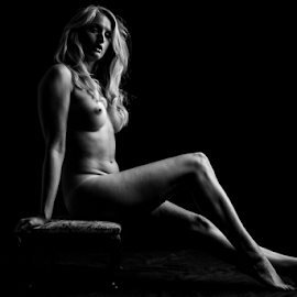 sexy blonde by Paul Phull - Nudes & Boudoir Artistic Nude ( long legs, body, blonde, black and white, artistic nude, shadows )