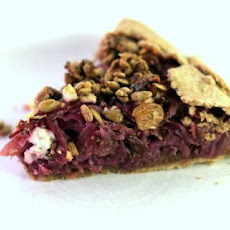 Balsamic Red Cabbage Galette with Caramelized Onions and Feta