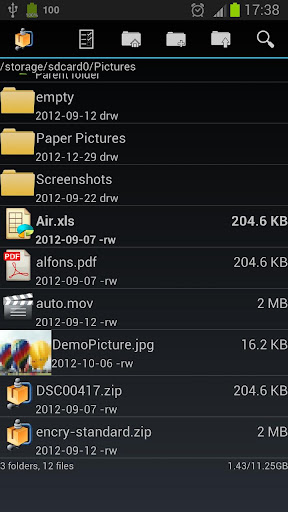 androzip-file-manager for android screenshot