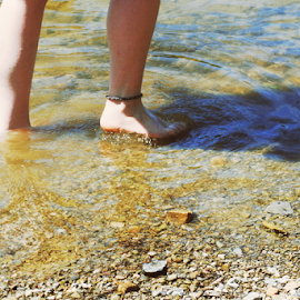 Legs by Anna Molly - People Body Parts ( water, pale, lake, legs, calves )