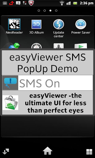 SMS easyViewer pop up display