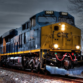 by Liz Benek - Transportation Trains ( hdr, headlights, train, night, tracks,  )