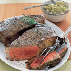 Pan-Grilled New York Strip Steaks with Green Olive Tapenade