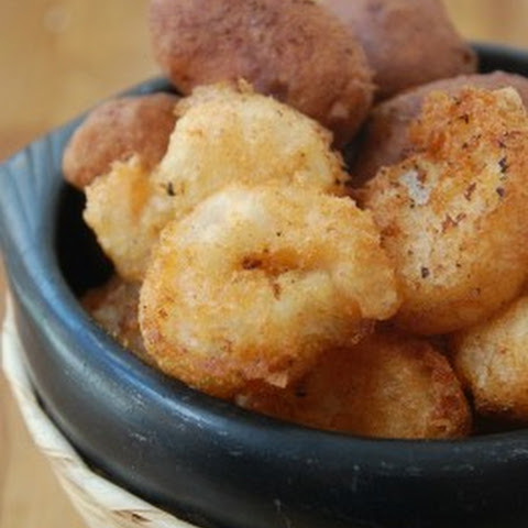 Homemade Beer Battered Shrimp and Hush Puppies