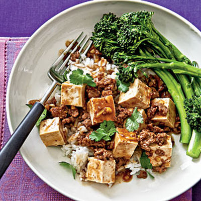 Ma Po Tofu with Steamed Broccolini