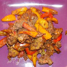 Savory Chicken Livers with Sweet Peppers and Onions
