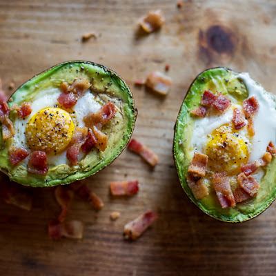 Baked Eggs in Avocado with Bacon, on Toast