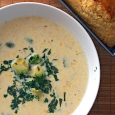 Creamy Corn Soup with Roasted Poblano Chile