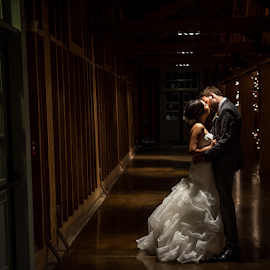 shine by Brian Mullins - Wedding Bride & Groom ( wedding, the fair barn, christmas lights, dramatic, pinehurst )