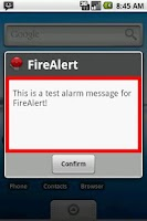 Screenshot of FireAlert
