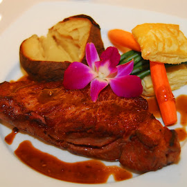 STEAK by Walter Carlson - Food & Drink Plated Food ( steak, food, potatoes, platred, carrots, flower,  )