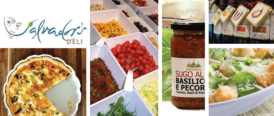 Feta Quiche, Fresh Salad Bar, Punchy Ortosalento Pasta Sauces, Caesar Salad, Lunaio Fantastic Flavoured Olive Oils