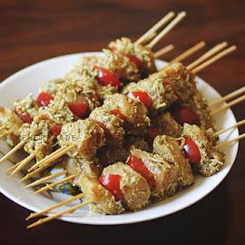 Grilled Pesto Chicken by Scherry Shahid - Food & Drink Meats & Cheeses ( chicken, cherry tomato, pesto, meat, shashlik, grilled )