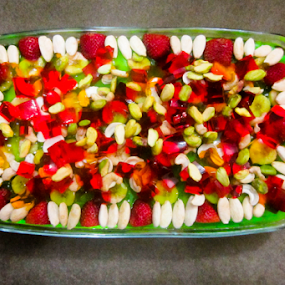 Fruit Triffle by Aamir Soomro - Food & Drink Fruits & Vegetables ( orange, almond, red, green, fruits, white, jelly, strawberry, triffle,  )