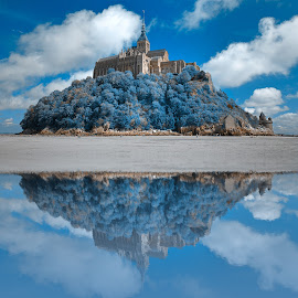 Wintry Blue Reflections of Mont Saint-Michel by Nicolas Raymond - Digital Art Places ( michel, old, stone, travel, beach, french, architecture, st-michel, historic, photomanipulated, sky, ancient, cold, fortress, st, surreal, monumental, reflective, normandy, cool, structure, cliff, white, tourism, fort, coastal, somadjinn, landmark, winter, european, mont, scene, wintery, big, shore, reflection, europe, reflections, landscape, coast, mirror, fantasy, st., epic, nicolas raymond, cloudy, france, monument, mont saint-michel, wintry, classic, clouds, water, building, photomanipulation, hdr, ethereal, sea, scenic, saint, manipulation, stronghold, history, saint-michel, tower, cyan, mount, blue, michael, background, fortification, brown, castle, scenery, historical, medieval, giant, , colorful, mood factory, vibrant, happiness, January, moods, emotions, inspiration )