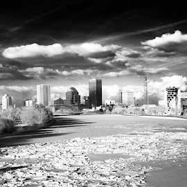 Rochester in IR by Enrique Santana Carballo - City,  Street & Park  Skylines ( skyline, genesee river, iced river, rochester, downtown )