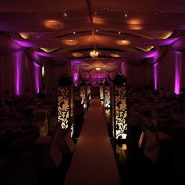 Magical Lights by Helen Kudrya-Marais - Wedding Reception ( decor, reception, purple, wedding, beautiful, creativity, lighting, art, artistic, mood factory, lights, color, fun )