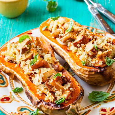 Quinoa and Mushroom-Stuffed Butternut Squash