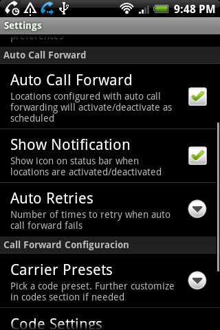 QuickCallForward - screenshot