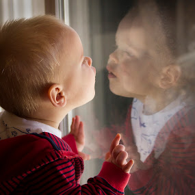 Innocent Reflection by M Knight - Babies & Children Toddlers ( child, reflection, red, family, innocence, son, baby, toddler, people, boy )