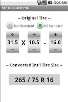 Screenshot of Tire Calculator PRO