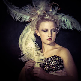 Saloon Girl by Beth Schneckenburger - People Fashion ( old, teen, saloon, feather, west )