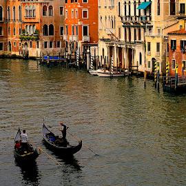 Gondole by Martin Vanek - City,  Street & Park  Street Scenes ( water, venice, ripple, vnezia, boat, canal, italy, gondole )