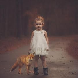 Princess & The Fox  by Stephanie Stafford - Babies & Children Child Portraits ( countryside, princess, fox, rain, fairytale )