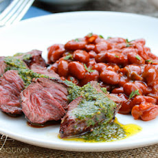 Grilled Hanger Steak with Cilantro Mint Chimichurri
