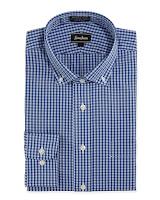 Neiman Marcus Non-Iron Classic-Fit Gingham Dress Shirt, Blue - (16.5 36/37)