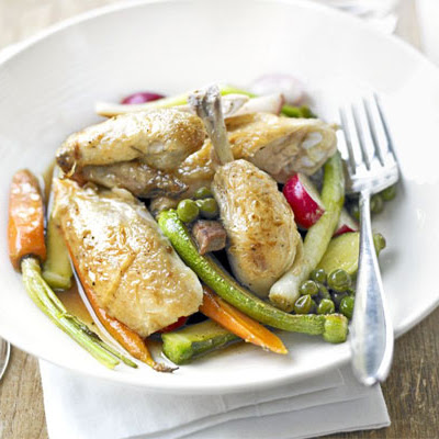 Lemon Roast Poussin With Spring Vegetables