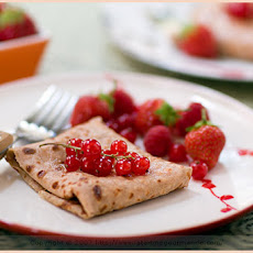Chestnut, Quinoa Crêpes with Red Currants and Ricotta Cream