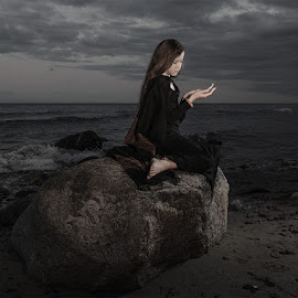 Tales of the Northern Sea by Mike Mashihin - Babies & Children Child Portraits ( runa, long hair, dark, sea, rock, night, black )