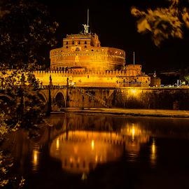Castel Sant'Angelo by Ivano Mancino - City,  Street & Park  Night ( rome, castel sant'angelo, mausoleum of hadrian, castle of the holy angel, tiber )